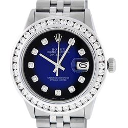 Rolex Mens Stainless Steel Blue Vignette 3.15 Carat Diamond Datejust Wristwatch
