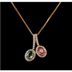 14KT Rose Gold 1.46 ctw Tourmaline and Diamond Pendant With Chain