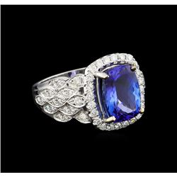 14KT White Gold 4.23 ctw Tanzanite and Diamond Ring