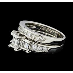 1.42 ctw Diamond Ring & Wedding Band - 14KT White Gold
