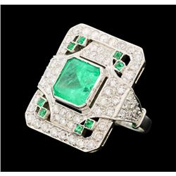 3.50 ctw Emerald and Diamond Ring - Platinum