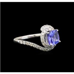14KT White Gold 1.41 ctw Tanzanite and Diamond Ring