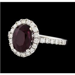 2.34 ctw Ruby and Diamond Ring - 14KT White Gold