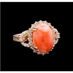 5.70 ctw Pink Coral and Diamond Ring - 14KT Rose Gold