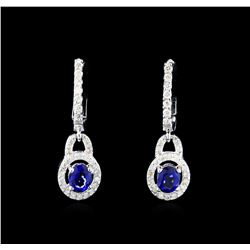 1.07 ctw Sapphire and Diamond Earrings - 14KT White Gold
