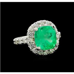 4.61 ctw Emerald and Diamond Ring - 14KT White Gold