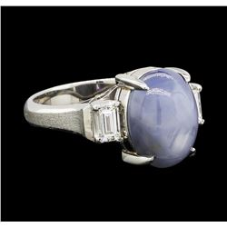 6.30 ctw Star Sapphire and Diamond Ring - Platinum
