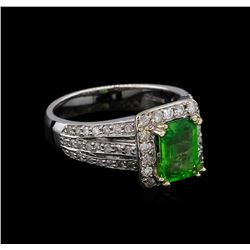 1.91 ctw Tsavorite and Diamond Ring - 14KT White Gold