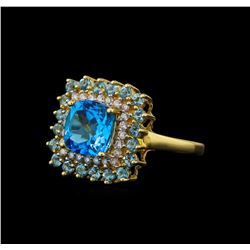 3.00 ctw Blue Topaz, Aquamarine, and Diamond  Ring - 14KT Yellow Gold