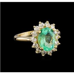 2.65 ctw Emerald and Diamond Ring - 14KT Yellow Gold