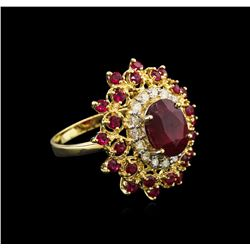 5.69 ctw Ruby and Diamond Ring - 14KT Yellow Gold