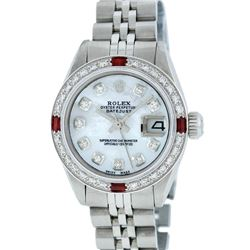 Rolex Ladies Stainless Steel And White Gold MOP Diamond and Ruby DateJust Wristw