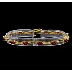 14KT Yellow Gold 7.45 ctw Ruby and Diamond Bracelet
