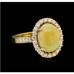 2.10 ctw Opal and Diamond Ring - 14KT Yellow Gold