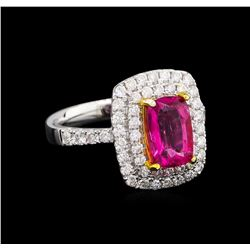 14KT Two-Tone Gold 1.92 ctw Tourmaline and Diamond Ring