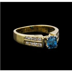 1.37 ctw Blue Zircon and Diamond Ring - 14KT Yellow Gold