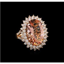 14KT Rose Gold 13.41 ctw Morganite and Diamond Ring