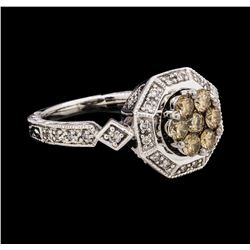 0.92 ctw Brown and White Diamond Ring - 14KT White Gold
