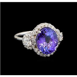 14KT White Gold 6.14 ctw Tanzanite and Diamond Ring