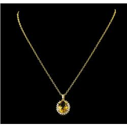 5.65 ctw Citrine Quartz and Diamond Pendant With Chain - 14KT Yellow Gold