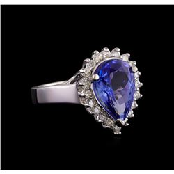 4.46 ctw Tanzanite and Diamond Ring - 14KT White Gold