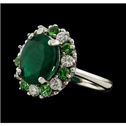 3.12 ctw Emerald, Tsavorite and Diamond Ring - 14KT White Gold