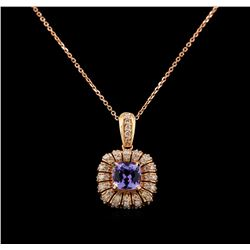 14KT Rose Gold 1.76 ctw Tanzanite and Diamond Pendant With Chain