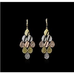 14KT Tri-Color Gold 2.23 ctw Diamond Earrings