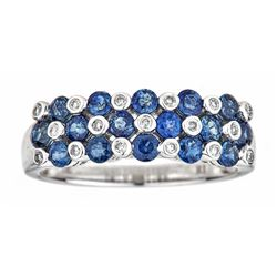 1.49 ctw Sapphire and Diamond Ring - 10KT White Gold