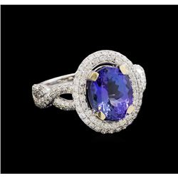 14KT White Gold 3.21 ctw Tanzanite and Diamond Ring