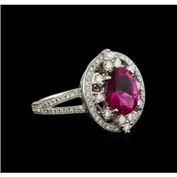 2.20 ctw Rubellite and Diamond Ring - 18KT White Gold