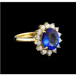 14KT Yellow Gold 2.24 ctw Tanzanite and Diamond Ring