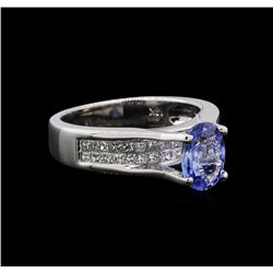 1.31 ctw Tanzanite and Diamond Ring - 18KT White Gold