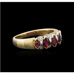 14KT Yellow Gold 0.10 ctw Diamond and Ruby Ring