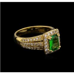 1.22 ctw Tsavorite and Diamond Ring - 14KT Yellow Gold
