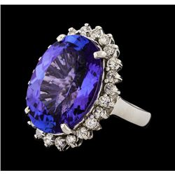 14.43 ctw Tanzanite and Diamond Ring - 14KT White Gold