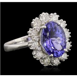14KT White Gold 4.25 ctw Tanzanite and Diamond Ring