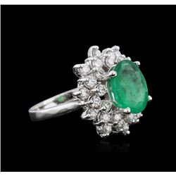 14KT White Gold 2.77 ctw Emerald and Diamond Ring