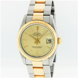 Rolex Two-Tone Champagne Index Fluted Bezel Midsize DateJust Watch