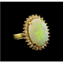 3.87 ctw Opal and Diamond Ring - 18KT Yellow Gold