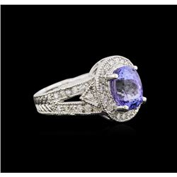 2.93 ctw Tanzanite and Diamond Ring - 14KT White Gold