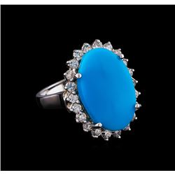 7.52 ctw Turquoise and Diamond Ring - 14KT White Gold