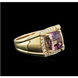 14KT Yellow Gold 4.51 ctw Ametrine and Diamond Ring
