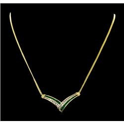 1.20 ctw Emerald and Diamond Necklace and Earring Suite