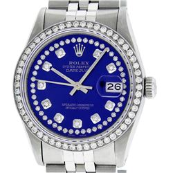 Rolex Mens Stainless Steel Royal Blue String Diamond Datejust Wristwatch
