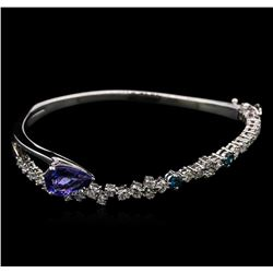 2.27 ctw Tanzanite and Diamond Bangle Bracelet - 14KT White Gold