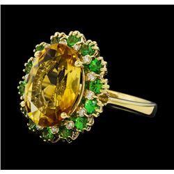 5.05 ctw Citrine Quartz, Tsavorite, and Diamond Ring - 14KT Yellow  Gold