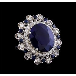 18.73 ctw Sapphire and Diamond Ring - 14KT White Gold