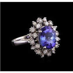 4.35 ctw Tanzanite and Diamond Ring - 14KT White Gold