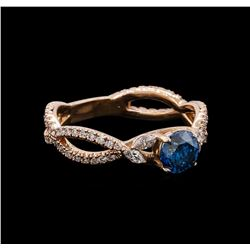 1.20 ctw Blue Diamond Ring - 14KT Rose Gold
